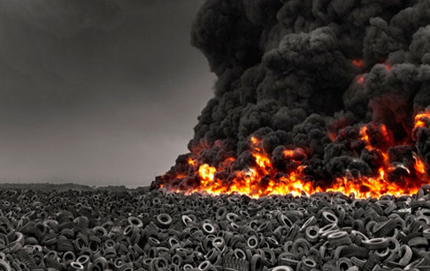 Used tyre on fire in Spain