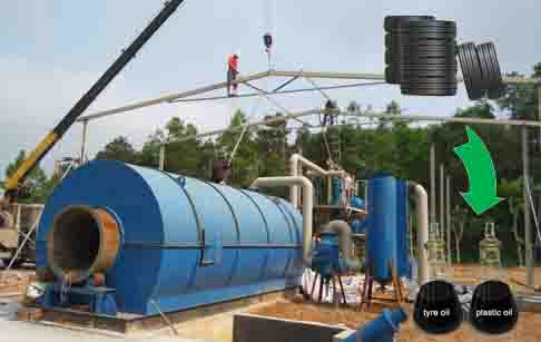 Used tyre pyrolysis process to oil plant design