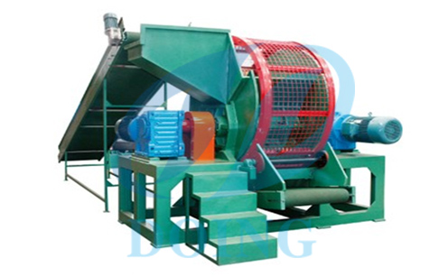 Scrap tire shredder crusher shredding crushing tire running video