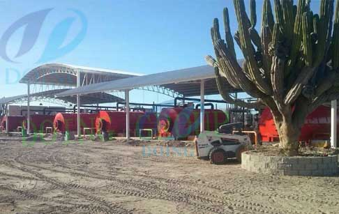 Mexico 10 set waste tyre pyrolysis plant was processing waste tyre working video
