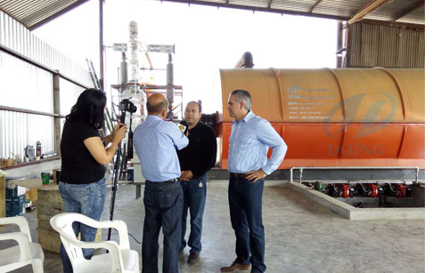 Waste tyre pyrolysis plant installed in Mexico by reported video