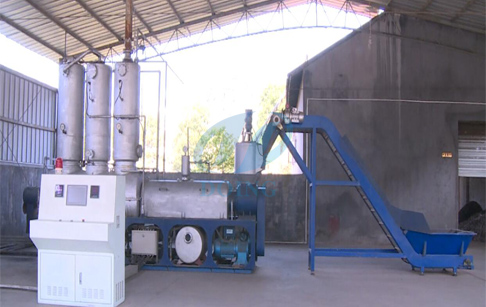 Fully automatic continuous tire/plastic to diesel fuel oil pyrolysis distillation plant running vide