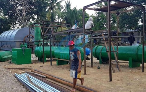 10T/D waste tire/plastic pyrolysis plant in Philippines