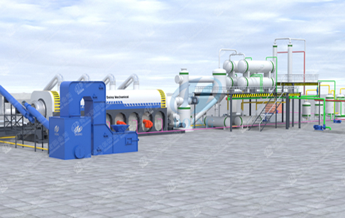 How does a continuous waste plastic pyrolysis plant work?