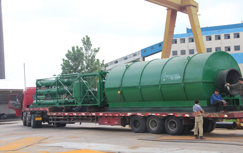 3 sets 10T's waste tire pyrolysis plant started operating of customers from Zhanjiang city, Guangdong Province, China
