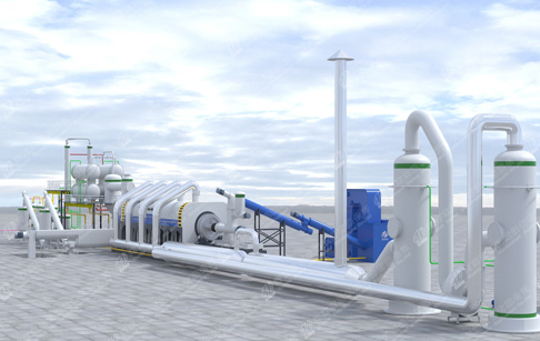 2018 new design fully continuous waste plastic pyrolysis plant