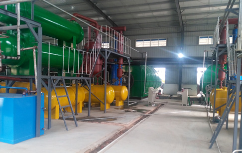 4 sets 10T/D waste tyre recycling pyrolysis plants successfully running in Tongshan county,China