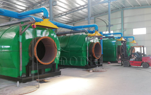 4 sets 12T/D waste tyre to oil pyrolysis plants being installed in Fujian, China