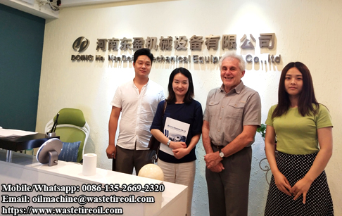 Customer from Singapore came to learn about pyrolysis plant and copper wire recycling machine