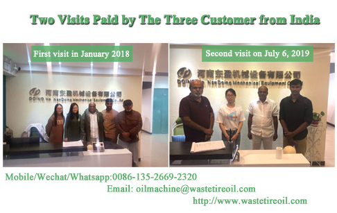 The second visit of Indian customer for waste tire pyrolysis machine