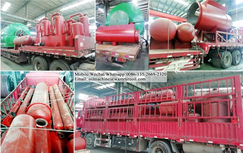 2 sets of 12TPD waste tyre oil extraction machine loading and delivery to Guangdong, China