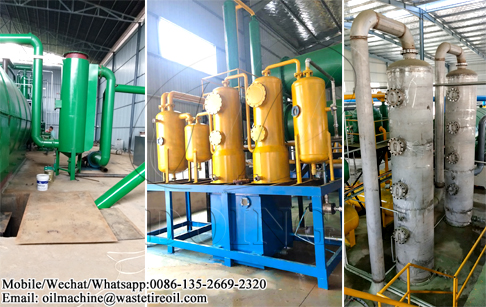 What pollution control system is adopted in waste tyre pyrolysis plant?