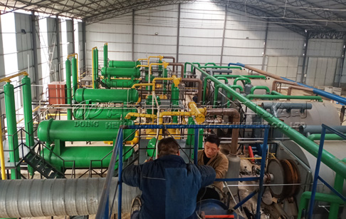 8 sets 12T waste tyre pyrolysis machine project in Shanxi, China