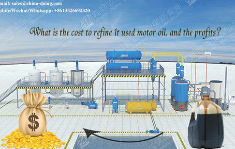What is the cost to refine 1t used motor oil, and the profits?