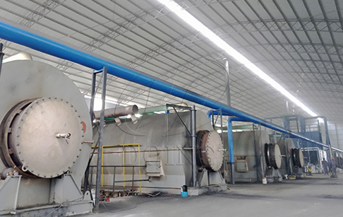 8 sets of waste tire pyrolysis plant running video in China
