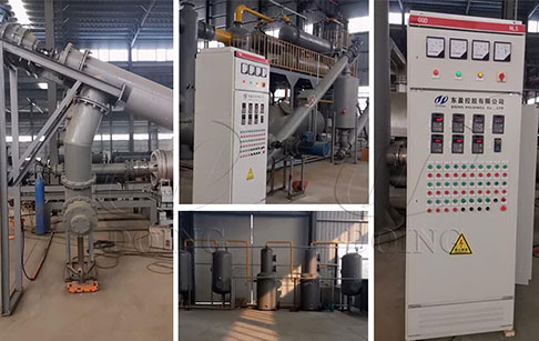 Fully automatic continuous waste tire to oil plant