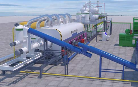 Continuous pyrolysis plant of plastic and waste tires