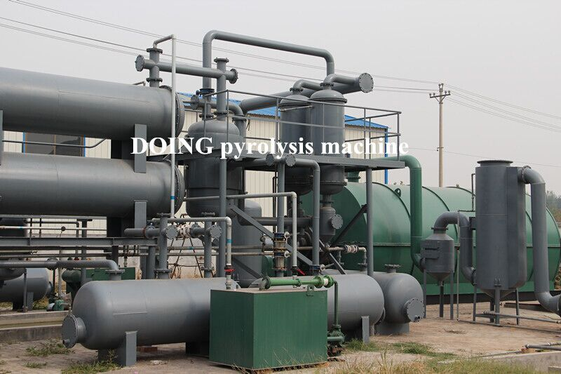 Tire/plastic prolysis plant for power generation