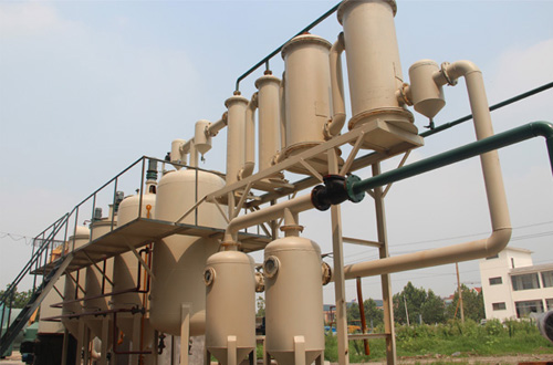 Used oil to diesel refining plant running vedio