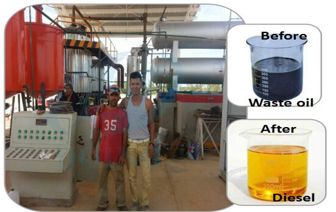 waste crude oil refining plant
