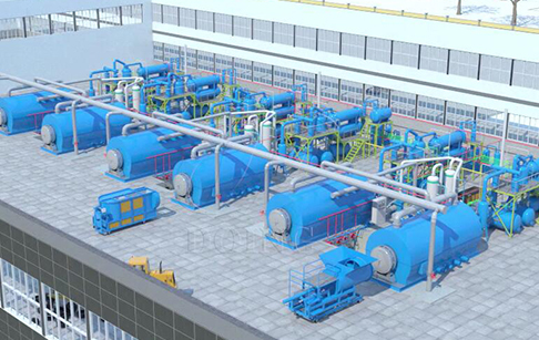 3D video of six sets of waste tire to fuel oil plant production line